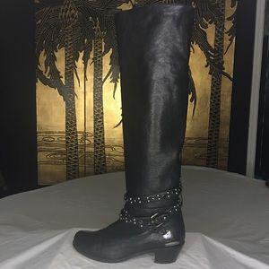 Stuart Weitzman Tall Leather Moto Boots